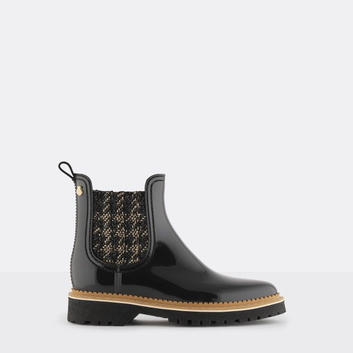 Lemon Jelly Black Platform Boots with Pattern | Women IZA 01
