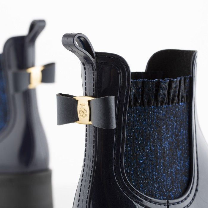 Lemon Jelly Blue Ankle Boots with Frills/Glitter ALIYA 03