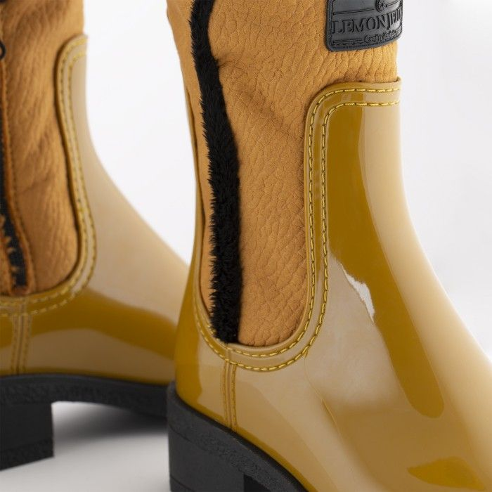 Lemon Jelly | Yellow Mid-Caf Boots with Fur Interior DANNA 02