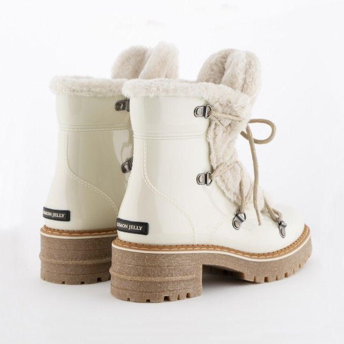 Lemon Jelly | White Military Boots with Fur | Women ANNA 03
