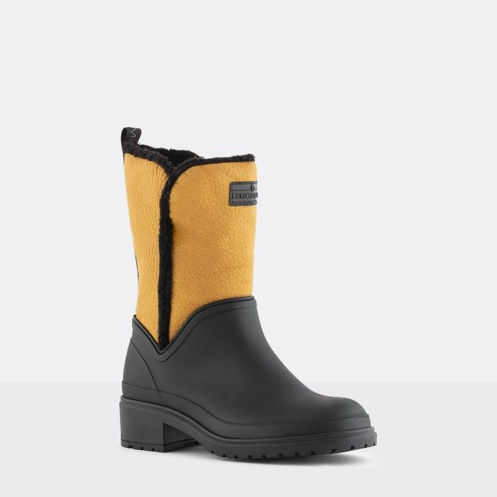 Lemon Jelly Women Yellow Low Boots with Fur Interior KARLI 03