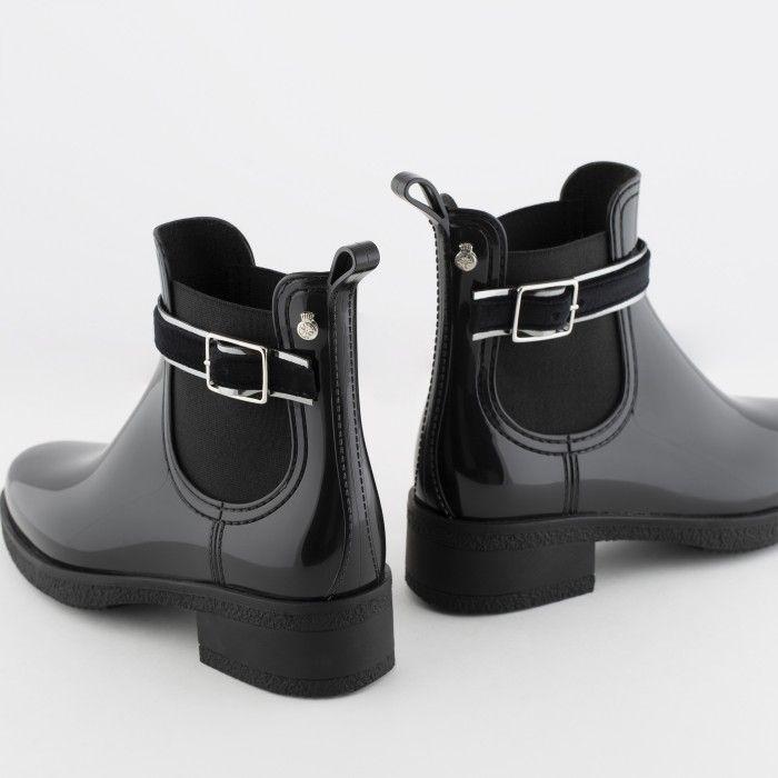 Lemon Jelly | Black Ankle Boots with Buckle | Vegan Shoes LUZ 01