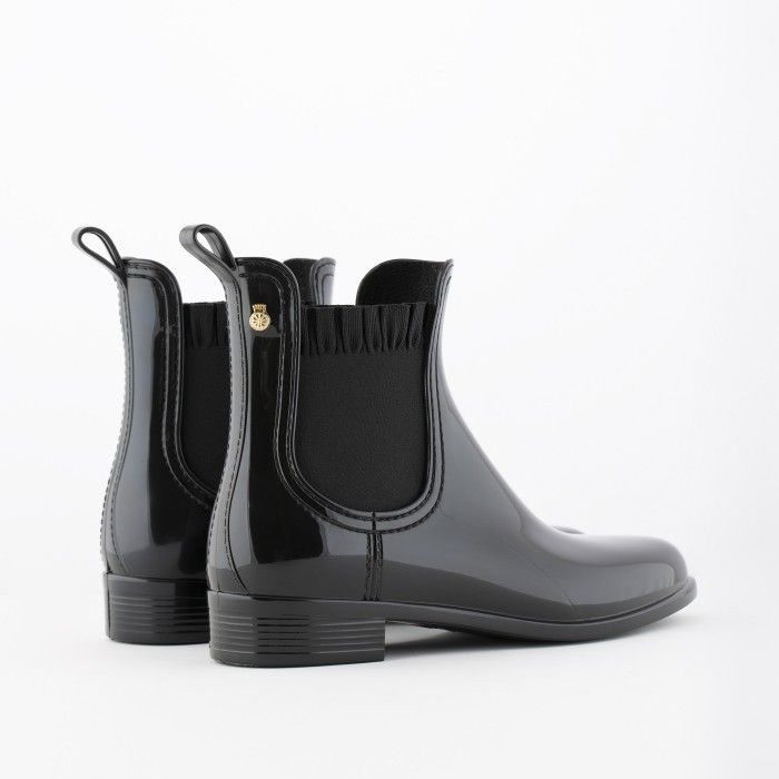 Lemon Jelly | Black Rain Boots with Frills | Women DEVON 01