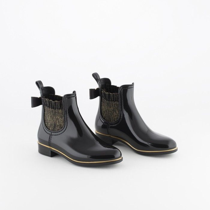 Lemon Jelly | Black Rain Boots Frills & Glitter | Girl BRIA 01