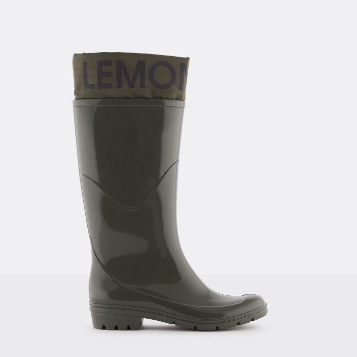 Lemon Jelly | Green Wellies with Logo | Vegan Shoes CLARE 03