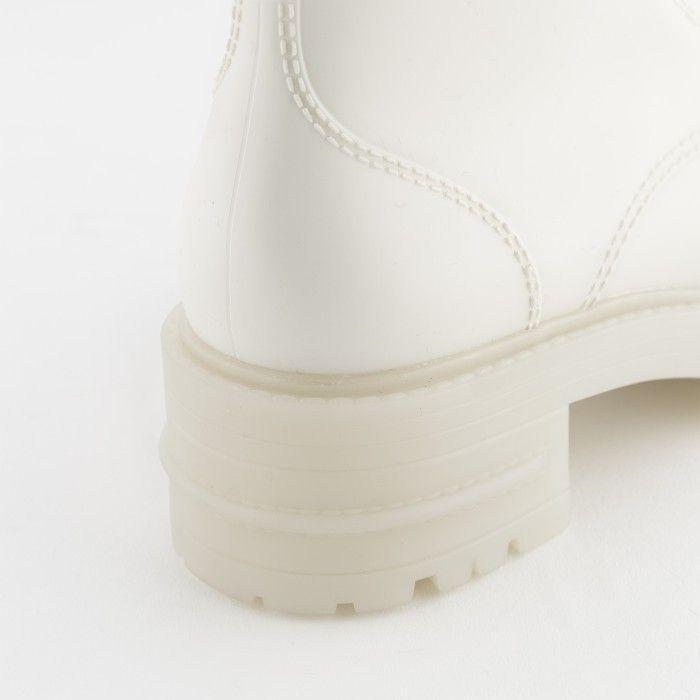 Lemon Jelly | White Matte Military Boots | Women RITTA 04
