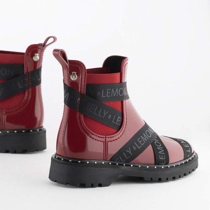 Lemon Jelly | Red Platform Boots with Straps FRANKIE 04