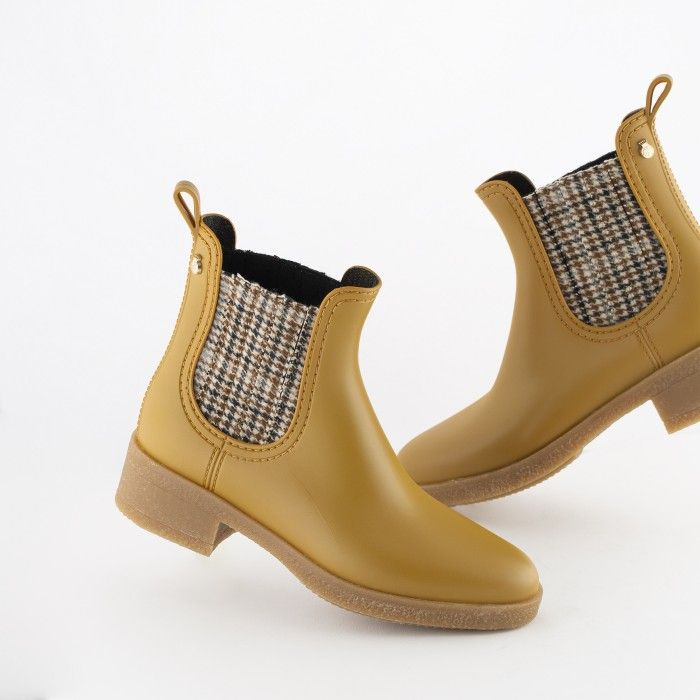 Lemon Jelly | Yellow Heeled Bootie with  Pattern LOGAN 04