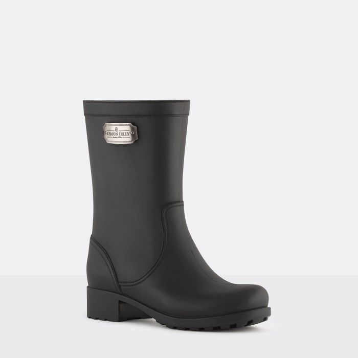Lemon Jelly | Matte Black Biker Boot with Logo | Women HARVEY 01