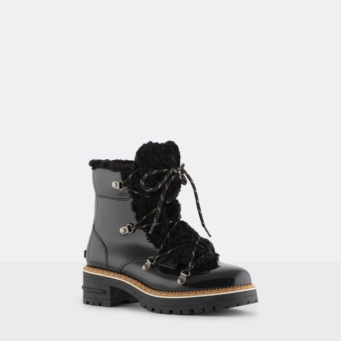 Lemon Jelly | Black Military Boots with Fur | Women ANNA 01