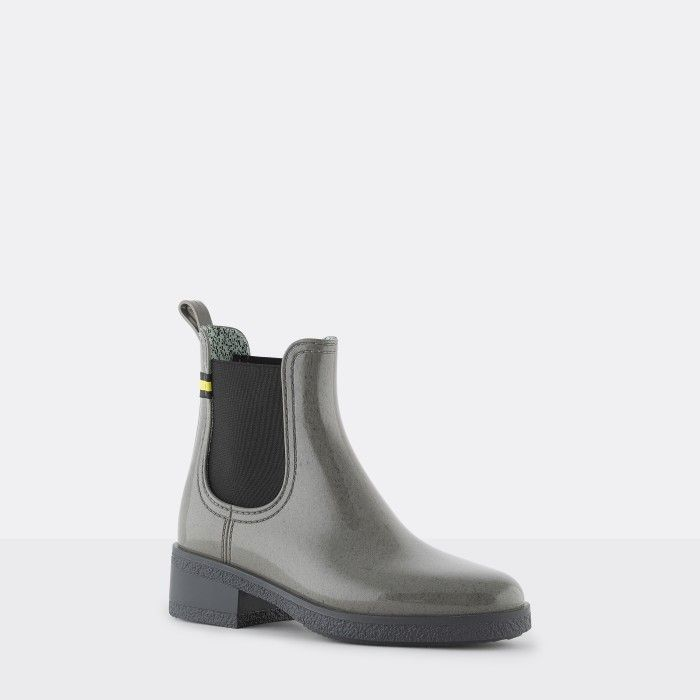 Lemon Jelly | Grey Recycled Ankle Boots with Heel LINDSEY 02