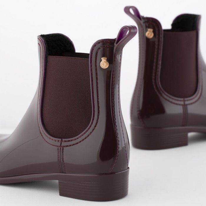 Lemon Jelly Wine Rain Boots with Fur Interior WARM COMFY 02
