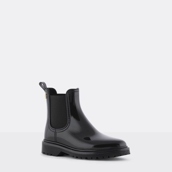 Lemon Jelly |  Black Platform Boots Fur Interior WARM BLOCK 01