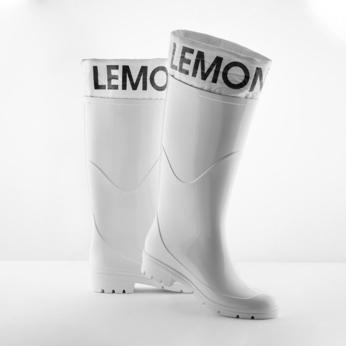 Lemon Jelly | White Wellies with Logo | Vegan Shoes CLARE 05
