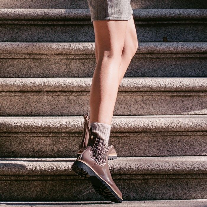 Lemon Jelly | Brown Platform Boots with Pattern | Women IZA 02