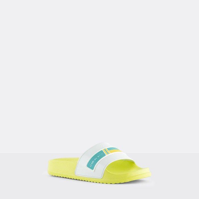Lemon Jelly | Vegan Women Yellow/White Slides with Logo WAVE 05