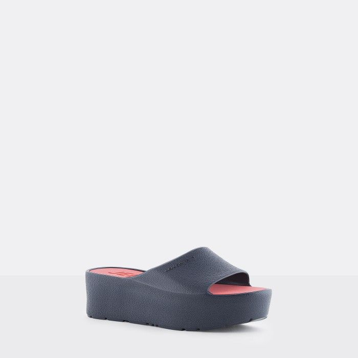Lemon Jelly | Vegan Women Navy Blue Platform Slides SUNNY 09