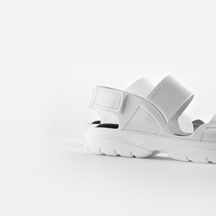 Lemon Jelly | White Vegan Sandals w/ Sporty Woman Style JUNO 06