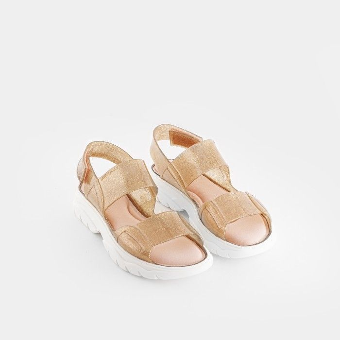 Lemon Jelly | Gold Glitter Vegan Sandals with Sporty Style JUNO 08