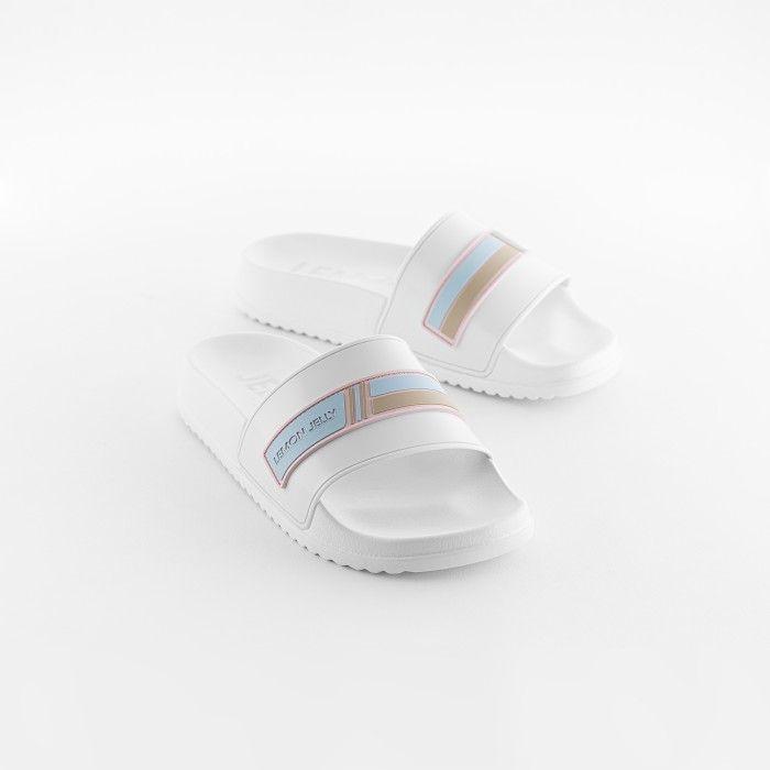 Lemon Jelly | Vegan Women White Slides with Brand Logo WAVE 06