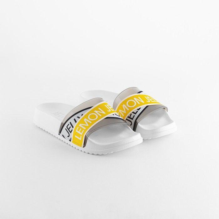 Lemon Jelly | Vegan Women White/Yellow Slides with Logo MAISIE 02