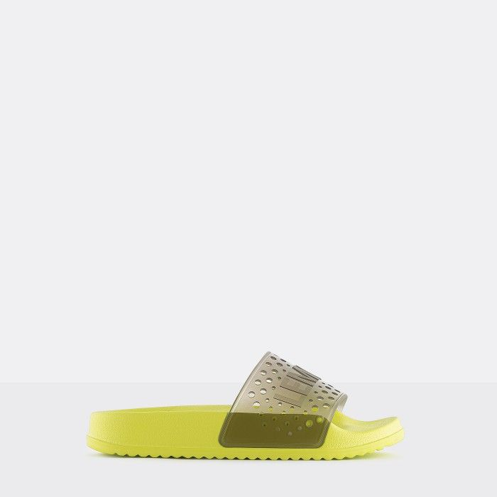Lemon Jelly | Vegan Women Yellow/Brown Slides EVIE 01