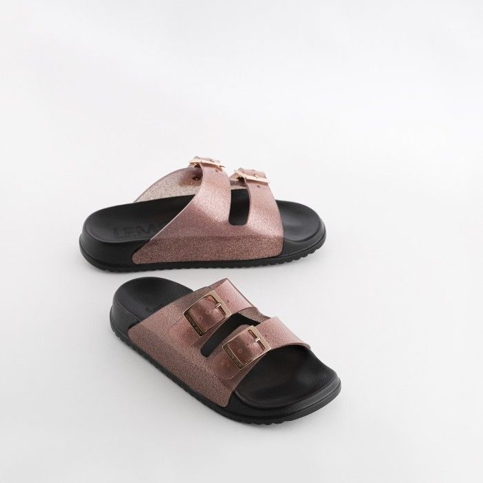 Lemon Jelly | Women Pink/Glitter Slides w/ Buckles LILLIAN 04