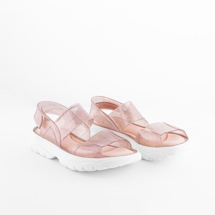 Lemon Jelly | Vegan Pink Glitter Sandals with Sporty Style JUNO 09
