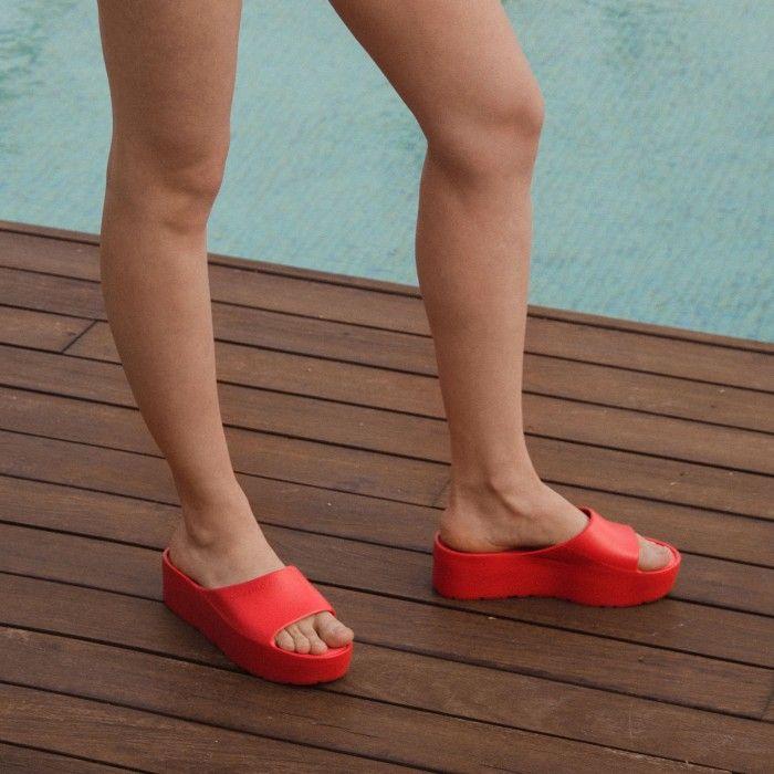 Lemon Jelly | Red Platform Slides for Woman SUNNY 02