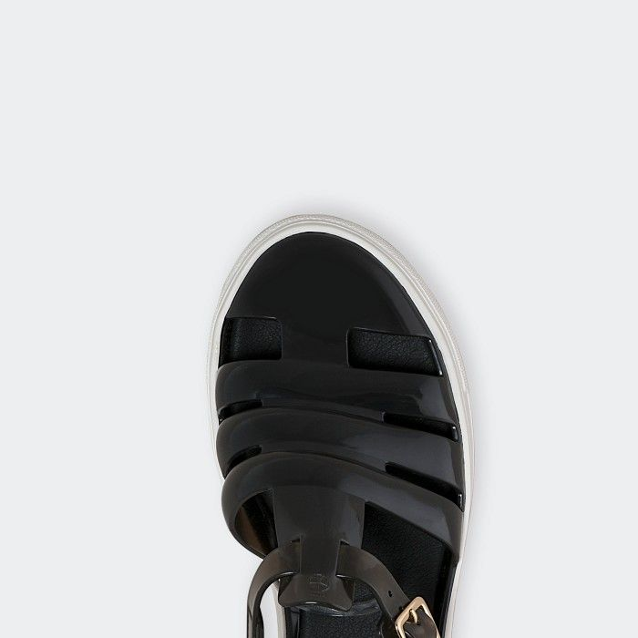 Lemon Jelly | Clear Black Fisherman Jelly Sandals CRYSTAL 05