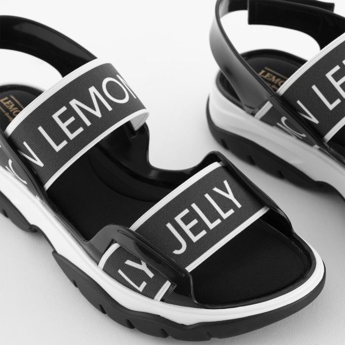 Lemon Jelly | Black Vegan and Sporty Sandals with Elastics BECKY 01