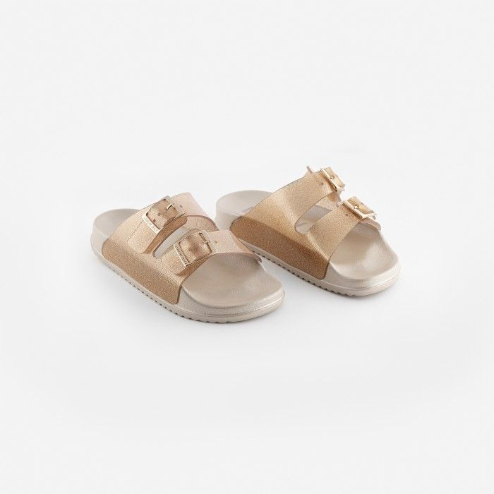 Lemon Jelly | Women Gold/Glitter Slides w/ Buckles LILLIAN 02