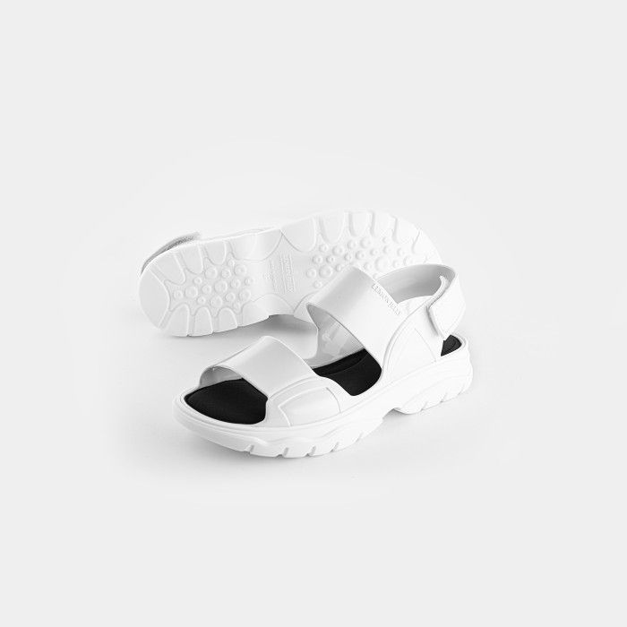 Lemon Jelly | White Vegan Sandals w/ Sporty Woman Style JUNO 06