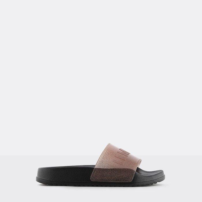 Lemon Jelly | Vegan Women Pink Glitter/Black Slides SHEA 01