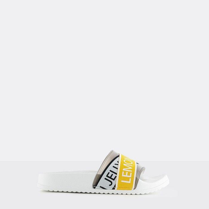 Lemon Jelly | Chinelos Femininos Brancos/Amarelos c/ Logo MAISIE 02
