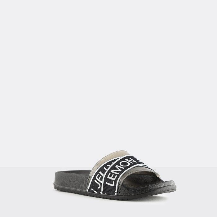 Lemon Jelly | Vegan Women Black Slides with Logo MAISIE 01