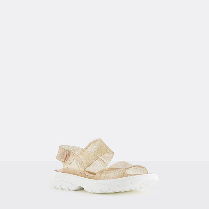 Lemon Jelly | Gold Glitter Vegan Sandals with Sporty Style JUNO 08