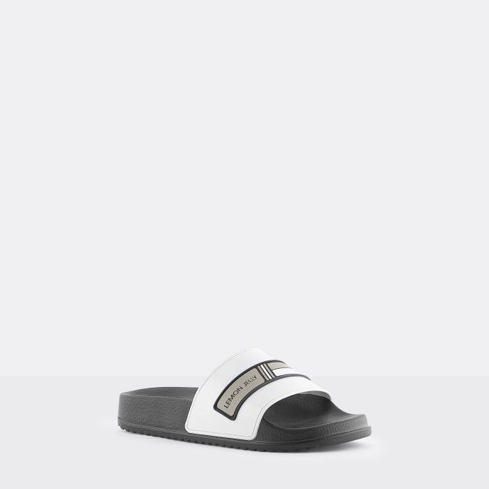 Lemon Jelly | Vegan Women Black/White Slides with Logo WAVE 01