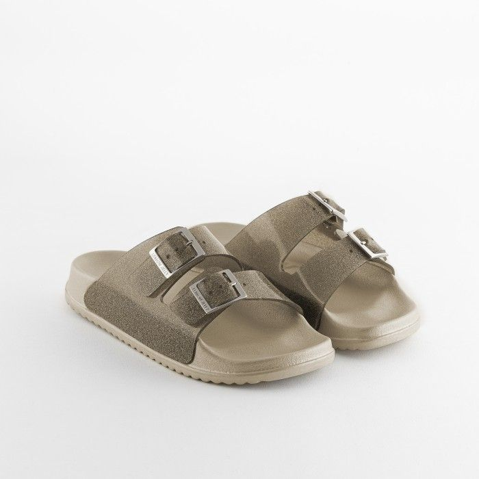 Lemon Jelly | Women Gray/Glitter Slides w/ Buckles LILLIAN 01