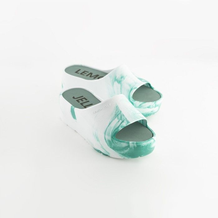 Lemon Jelly | Vegan Women White/Blue Platform Slides SUNNY 10