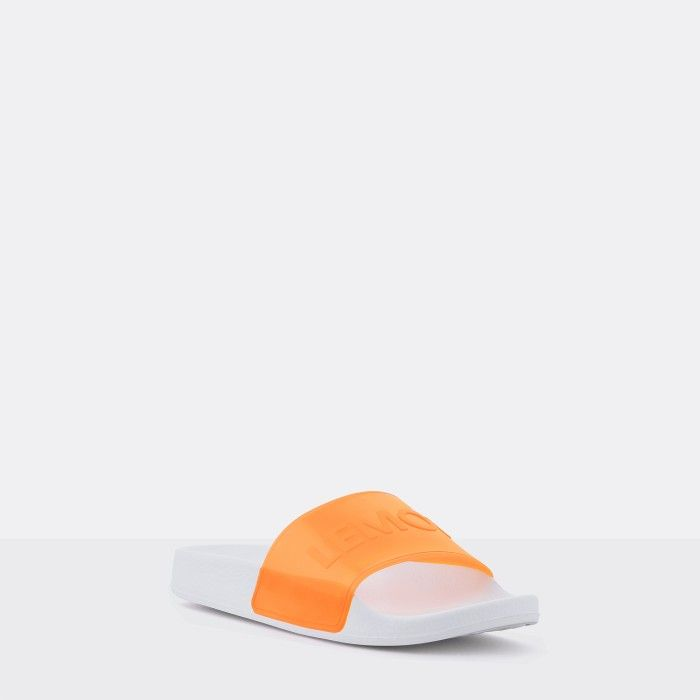 Lemon Jelly | Clear Orange Woman Slides with Letters NEON 05