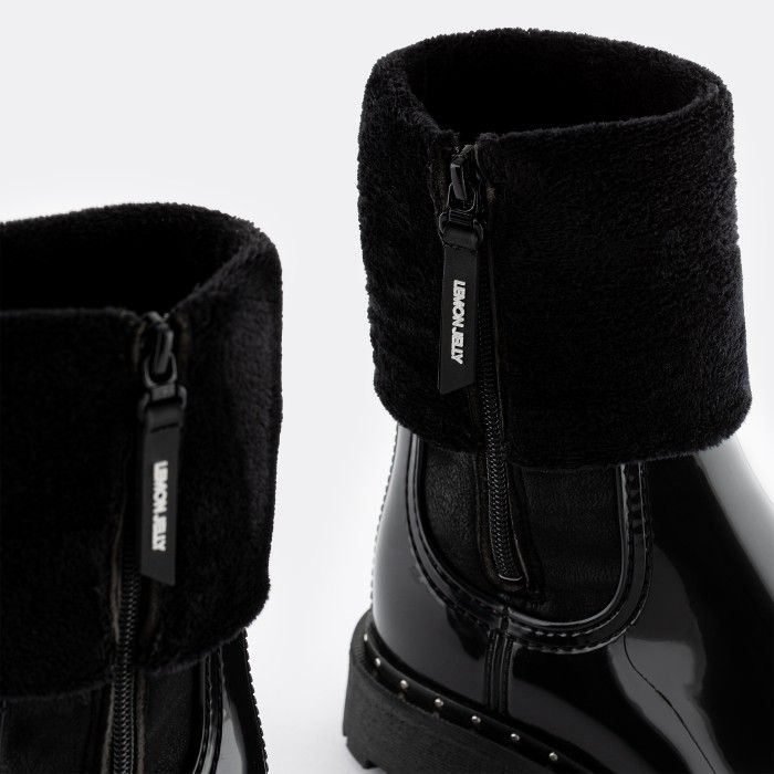 Lemon Jelly Vegan Black Ankle Boots with Fur MERCIA 01