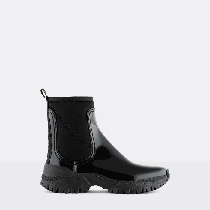 Lemon Jelly Vegan Sporty Black Ankle Boots w/ Neoprene CHERYL 01