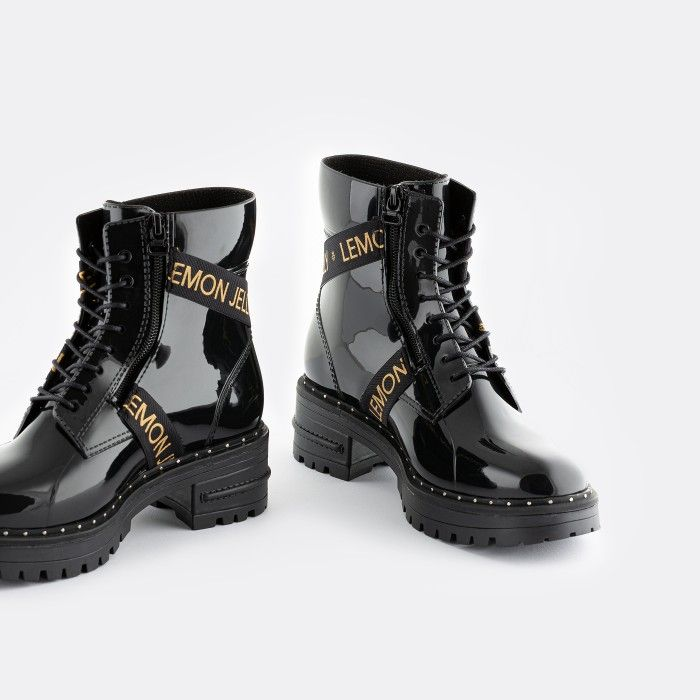 Lemon Jelly Vegan Low Combat Boots with Straps GIANNA 01