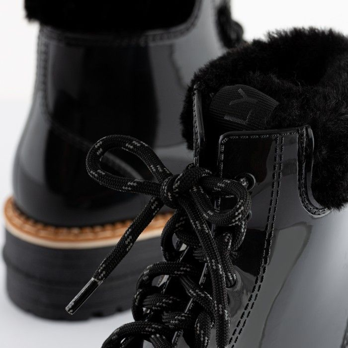 Lemon Jelly Vegan Black Low Boots with Synthetic Fur OLETA 01