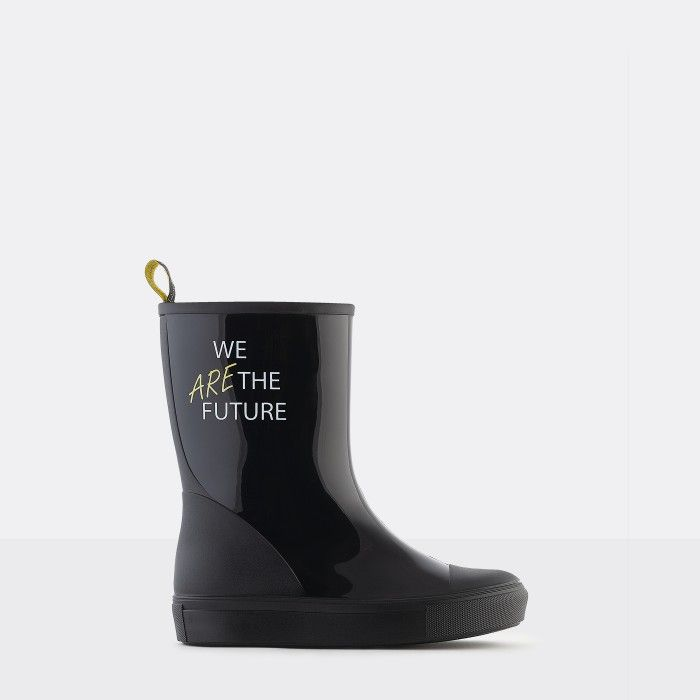 Lemon Jelly Vegan Black Mid-Calf Rain Boots for Girl FANNIA 01