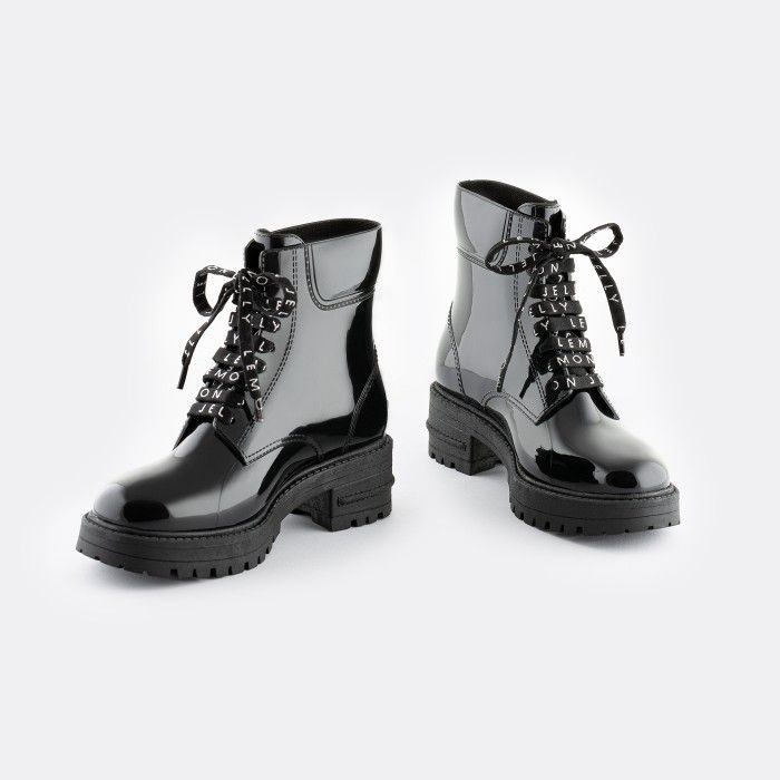 Lemon Jelly Women's Vegan Black Low Combat Boots CAILYN 06