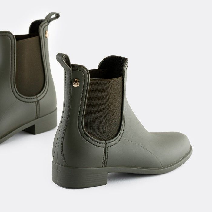 Lemon Jelly Vegan Military Green Rain Ankle Boots SPLASH 19