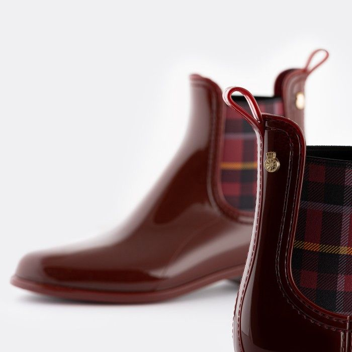 Lemon Jelly Vegan Bordeaux Ankle Boots Tartan Elastic ARLEENE 05