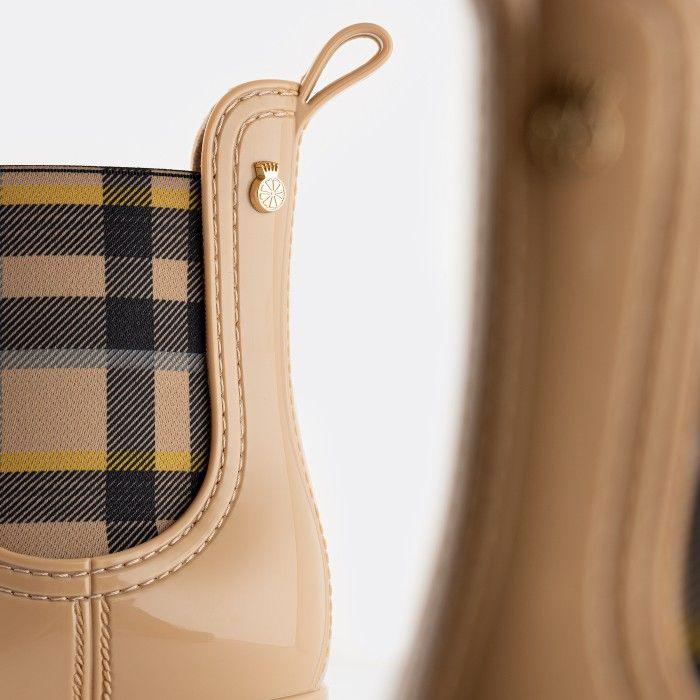 Lemon Jelly Vegan Beige Ankle Boots w/ Tartan Elastic ARLEENE 04